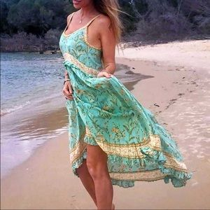 Pale green, ruffled dress